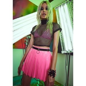 NWT Current Mood Pink Patent Pleated Mini Skirt